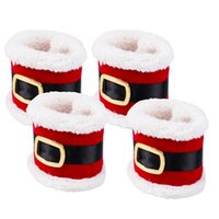 Ornements De Noël En Gros De Vacances Pas Cher-Vente en gros - 4Pcs Christmas Holiday Table Napkin Rings Serviette Holder Party Xmas Ornament