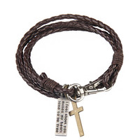 Wholesale Fine Weave - New Fashion Multilayer Wrap Bracelets Weave Leather Cross Charm Bangles With Big Lobster Clasp Women Sandy Beach Fine Jewelry Gift