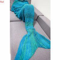 Wholesale Long Tail Crochet - Wholesale-New Adult Knitted Reading Cover Crochet Mermaid Tail Shape Blanket Handmade Sofa Sleeping Blanket Bat Sleeve Sweater SVB030785