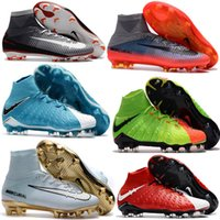 Wholesale Kids Slip Leather Shoes - Top Quality Kids Mercurial Superfly FG CR7 Vitórias Magista Obra Soccer Shoes Ronaldo Cleats Forged for Greatness Footbal Shoes Boots