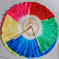 Wholesale Belly Dance Silk Veil Blue - Hot sell! Free shipping 120pcs lot Bamboo frame Chinese belly dance fan silk veils assorted 5 colors available