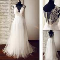 Wholesale Princess Pink Dress Photos - 2017 Real Photo Cheap Wedding Dresses A-line Deep V-neck Tulle Appliques Lace Custom Made Bridal Gowns Beach Vestido De Noiva Simples