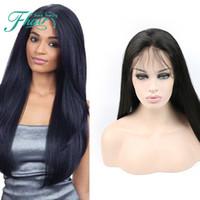 insan dantel peruk malezya toptan satış-9A Ucuz Tutkalsız Tam Dantel Peruk Siyah Kadınlar Için Doğal Renk Malezya İnsan Saç Peruk Ipek Düz İnsan Saç Peruk Ile Bebek saç