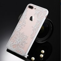 Wholesale Pink Plastic Skirt - Relief Lace Mandala Rose Henna Skirt Case Cover For iPhone 6 6S 7 7plus