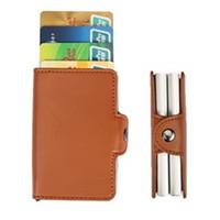 Wholesale Men Wallet Sets - Wallet High QualitY Credit Card Holder Automatic Card Sets Business Aluminum Solid Colors Card Sets Cards Wallet Cash Clip Holder