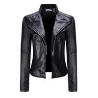 Wholesale Women Short Leather Jackets Wholesale - Wholesale- Spring&Autumn Women Fashion Outwear Coats Long Sleeve Solid Coats Motorcycle Zipper Jacket Soft Leather Short Biker Coat