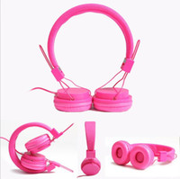 Wholesale Dj Headphone Girls - Hot Sale New Arriving 3.5mm Cartoon Earphone Pink Headset Dj Headphone For Girls Kids With Mic High Quality