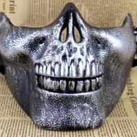 skelettmaske airsoft großhandel-Schädel Masken Spaß Paintball PVC Airsoft Scary Skeleton Maske Schutz CS Spiele Halloween Karneval Party Im Freien