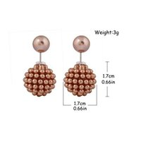 Wholesale double stud ring - Hot Sale Stud Earrings Fashion Jewelry Round Ear Ring aros women double pearl Pearl earrings Multi-Color ear cartilage statement Ear studs