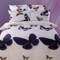 Wholesale Purple Butterfly Quilt - 3D Purple Gold Butterfly Bedding Sets White Duvet Cover Set Bed Sheet Set Linens Set Queen Size Printing Quilt cover 4PCS Bedding