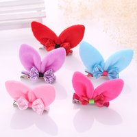 Новые девушки Bunny Ear Hair Barrettes Princess Rabbit Ear Pretty Cute Classic Head Wear Модные детские зажимы для волос Bang clip duck clip 10color