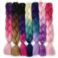 Wholesale Thick Ombre Hair Extensions - VERVES Ombre Braiding Hair braid 24inch High Temperature Fiber ombre braiding hair Extension yaki style thick synthetic hair bundles