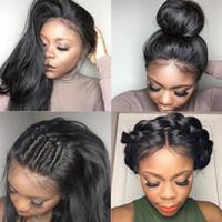 human hair wigs оптовых-Шелковистые прямые бразильские волосы для волос с капюшоном для волос с капюшоном 130 Плотность 150 Плотность с детскими волосами Предварительно выщипнутая линия волос Отбеленные узлы