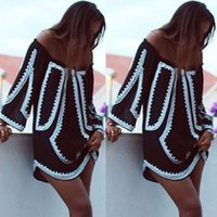 Wholesale Tunic Mini Dress Batwing Sleeves - Strapless Off Shoulder Dress Summer Casual Kawaii Short Party Dress Women Tunic Sundress Sexy Robe Femme Vestido De Festa