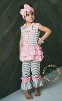 Wholesale Toddler Ruffle Shirts - Girl t-shirt and short sets   pink t-shirt with pocket  stripe cotton toddler girls boutique clothing sets, girls clothing sets ruffle