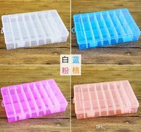 Wholesale Small Plastic Tool Box Wholesale - Storage Box Plastic Small 24 Grid Case Jewellery Fish Bait Ear Studs Sundries Storages Box Practical Home Tool 2 8sk D R