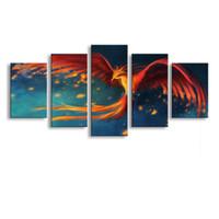 Wholesale cheap large canvas art - 5 Panel phoenix Painting Canvas Wall Art Picture Home Decoration Living Room Canvas Print Modern Painting--Large Canvas Art Cheap A5-010