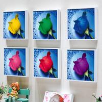 Wholesale money kits - Diamond Painting 3D DIY Needlework Kit No Fading Cross Stitch Drip Water Rose Sticking Drill Paintings Bedroom Decor 4 5zs F R