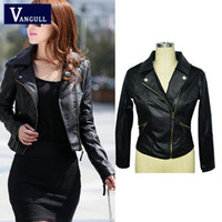 Wholesale Ladies Leather Coats Wholesale - Wholesale- 2016 Autumn Spring Short Fashion Leather Jacket Women Casual Coat Motorcycle jacket PU Leather Clothing Plus size Ladies Outwe