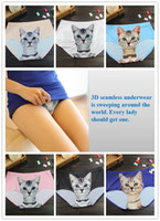 Wholesale cute underwear for women - 2017Newest Ladies Underwear Cute 3D Cat Panties Sexy Mid Waist Underwear Comfort Briefs Animal Panties For Women Nylon Panties