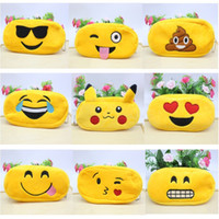 Wholesale Plush Cosmetic Bags - Pencil Case Pencil Bags Emoji Plush Zipper Cosmetic Bag Cartoon Styles Pouch Writing Supplies Office School Stationery bag