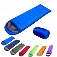 Wholesale Wholesale Terylene Fabric - Wholesale- Hot Sale Ultralight Fabric Outdoor Portable Folding Single Camping Bag Envelope Shape Sleeping Bag With Cap For Camping Travel