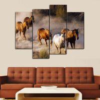 decoração cavalo branco venda por atacado-Unframed 4 Pcs Marrom e branco Cavalo Imagem Pintura Da Cópia Da Lona Moderna Arte Da Parede para a Decoração Da Parede de Decoração Para Casa Arte