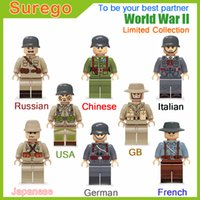 Kitoz Military Series WW2 USA Soviet Chinois Allemand Japonais GB Italian French Army Mini Doll Building Blocks Toys Limited Rare