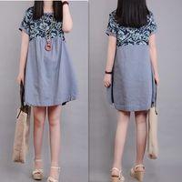 vestido coreano de talla libre al por mayor-2017 verano nueva versión coreana de gran tamaño de las mujeres de costura suelta de algodón de manga corta y vestido de lino envío gratis