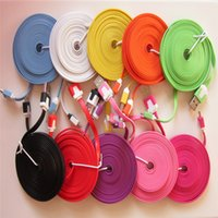 Wholesale Iphone Wires 3m - Micro USB For samsung HTC Cable Color Small Noodles Wired USB Charging Mobile Phone Cable for Samsung HTC LG 1M 2M 3M