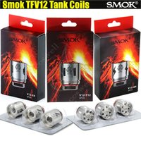 Wholesale Top Head Atomizer - Top Quality SMOK V12-T12 V12-X4 V12-Q4 Coils for Smoktech TFV12 Tank Atomizer Replacement Coil Head 0.12ohm Duodenary Cloud Vapor core DHL