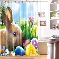 Wholesale Easter Bunny Shower - Wholesale- Cartoon Easter Bunny Waterproof Washable Bath Curtains 3D Shower Curtain for Bathroom Custom with Hooks Accept Your Photo