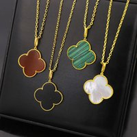 Wholesale Gold Leaf Clover Necklaces - 316L Titanium steelcharm women lover 4 four Leaf Leaves Clover 91cm necklace pendant with black and whtie shell fashion necklace jewelry PS