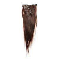 Wholesale Darkest Brown Clip Hair Extensions - JUFA Brazilian Straight Hair Full Head Clip in Human Hair Extensions 100g #2 Darkest Brown Brazilian Remy Human Hair Clip In Extensions 7PCS