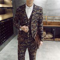 Wholesale Trajes Hombre Fashion - Wholesale- fashion men slim fit suits trajes de novio 2015 hombre suit 3-piece latest coat pant designs Camo casual suits jacket+vest+pant