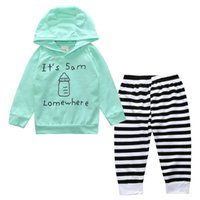 Wholesale wholesale hood t shirts - Baby Clothes Boys Sets 2017 New INS 2PCS Cotton Lettered Long Sleeve T-Shirt With Hood Striated Long Pants Kids Clothing XY50