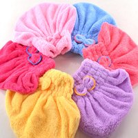 Wholesale Microfiber Hair Towel Head Wrap - Multicolor Microfiber Solid Hair Turban Quickly Dry Hair Hat Womens Girls Lady's Cap Bathing Tool Drying Towel Head Wrap Hat