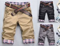 Wholesale Stylish Korean Fashion Mens - Wholesale- New Fashion Korean Stylish Mens Short Pants Lattice Flanging Cropped Trousers NZ-30203