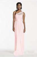Wholesale White Gold Cheaper - 2017 African One Shoulder Chiffon Long Bridesmaid Dresses Pink Hot Lace Top Junoir Maid Of The Honor Party Gowns Cheaper