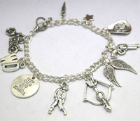 Wholesale Silver Tone Toggle Clasp - 12pcs The Walking Dead Inspired Charm Bracelet Zombie Jewelry silver tone