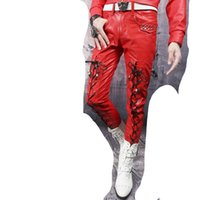 Wholesale Korean Dance Trousers - Wholesale- Autumn and winter black red white korean mens leather pants slim faux leather pants non-mainstream male pu trousers dance street