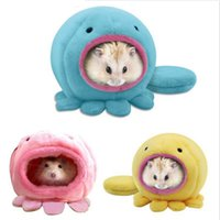 Wholesale Rat Cage Bedding - Cute Octopus Design Warm Plush Winter Hamster Mice House Cage Hanging Bed Hammock with Bed Mat Factory Suppy On Sale Wholesale