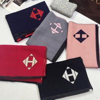 Wholesale Double Sided Cashmere Pashmina - USA H - Letter cashmere plaid scarf double - sided fringed shawl