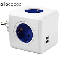 Wholesale Original Allocacoc Smart Home PowerCube Socket EU Plug Outlets USB Ports Adapter Power Strip Extension Adapter Multi Switched Socket
