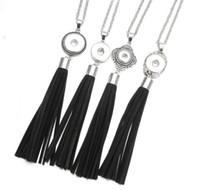 schwarzer druckknopf verkauf großhandel-Heißer verkauf schwarz lange quaste halskette 18mm druckknopf anhänger halskette oem, odm schnappt unisex schmuck