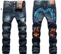 Wholesale Mens Long Coat Pattern - mens Strech ripped biker jeans skinny Distressed kanye west designer distrressed brand hip hop streetwear swag pants