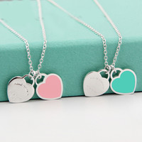 Beichong Fashion Deux Love Blue Heart Pendentif Colliers Gold-Color Stainless Steel Necklaces Simple Pendant Femme Collier Girl Gift