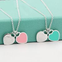 Wholesale two girls necklace - Beichong Fashion Two Love Blue Heart Pendant Necklaces Gold-Color Stainless Steel Necklaces Simple Pendant Women Necklace Girl Gift