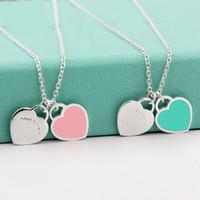 zwei halsketten großhandel-Beichong Mode Zwei Liebe Blau Herz Anhänger Halsketten Gold-Edelstahl Halsketten Einfache Anhänger Frauen Halskette Mädchen Geschenk