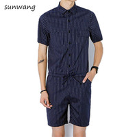 Wholesale Cargo For Mens - 2017 Harajuku Gothic Rompers For Men Mens Striped Jumpsuit Harem Cargo Overalls Summer Hip-Hop Casual Bibs Pants Hot Male Romper